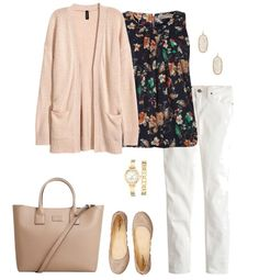 Cardigan Outfit Idea for Spring - Cardigan, Floral Blouse, White Denim, Ballet Flats Casual Weekend Outfit, Casual Summer Outfits, Classic Outfits, Spring Outfits, Spring Clothes, Work Outfits, Floral Top Outfit, Floral Blouse, White Jeans Outfit
