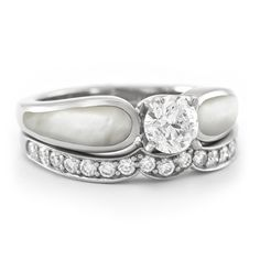 White Mother of Pearl Alternative Engagement Ring - With One Diamond Band | The Alchemy Bench #bridaltransformed