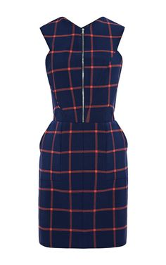 Shop Plaid Suiting Cutout Back Dress by Thakoon Addition for Preorder on Moda Operandi