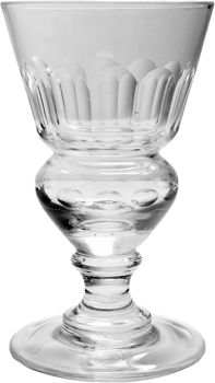This is the most famous of all absinthe glasses, with a distinctive nipped-in reservoir to hold the absinthe dose. It's striking design was immortalised by the Pontarlier artist Charles Maire in his famous still life created for Pernod Fils, chromolithographic reproductions of which hung in almost every cafe and bar of Belle Epoque France.