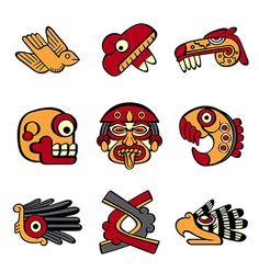 Redesign of the ancient Aztec calendar symbols.AUN A PESAR DE LOS DEPREDADORES EUROPEOS MEXICO RESURGIRA EN LA OBSCURIDAD A LA QUE FUE SOMETIDO LO PROFETIZO MI AMADISIMO TLATUANI MI REY CUAUHTÉMOC.
