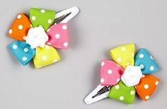Another great find on Rainbow Polka-Dot Flower Snap Clip Set by Sweet Treat Bows Making Hair Bows, Diy Hair Bows, Bow Hair Clips, Flower Hair Clips, Ribbon Crafts, Ribbon Bows, Ribbons, Barrettes, Hairbows