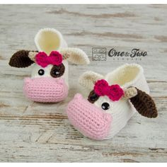 Doris the Cow Booties - Child Sizes - Crochet Pattern
