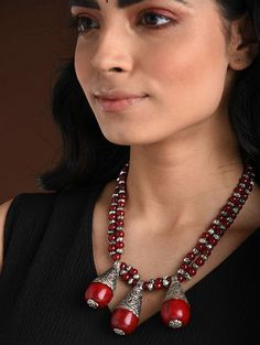 Buy The Stone Age Parampara Elevate your look with spectacular silver-tone stone-beaded jewelry for over-the-top statement Online at Jaypore.com Fashion Jewelry Necklaces, Beaded Jewelry, Beaded Necklace, Pendant Necklace, Shopping Coupons, Backpack Brands, Stone Age, Necklace Online, Pendants