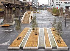 post industrial plaza, landscape design by Austrian firm, AllesWirdGut, in Esch-sur-Alzette, Luxemburg