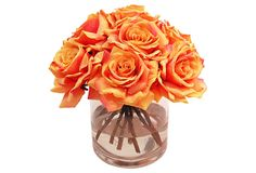 """12"""" Roses in Vase, Orange on OneKingsLane.com Set in an elegant vase, this silk rose arrangement adds classic charm to any setting. The best part? Its beauty never fades--you'll enjoy these faux blooms for years. Made of: flower, silk; vase, glass Size: 12"""" x 11"""" x 11"""" Color: orange"""