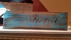 """RECYCLED WOOD PALLETS: This Thanksgiving sign can hang out all year if you wanted it to. Why limit our """"Thanks"""" to just one day. This hand painted sign is 20"""" x 6"""" and sells for $12. Message us if you are interested.  Item # 382"""