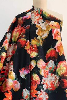 Blazing Tulips Stretch Woven Black Fabric, Fabric Design, Tulips, Stretches, Marcy Tilton, Kimono Top, Floral Prints, Men Casual, Mens Tops