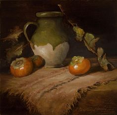 Tuscan Pottery & Persimmons by Christine Hooker Oil ~ 8 x 8
