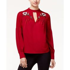 Xoxo Juniors' Embroidered Choker Blouse (654.935 IDR) ❤ liked on Polyvore featuring tops, blouses, cranberry, sweetheart neckline blouse, embroidery blouses, embroidered blouse, embroidered top and sweetheart blouse