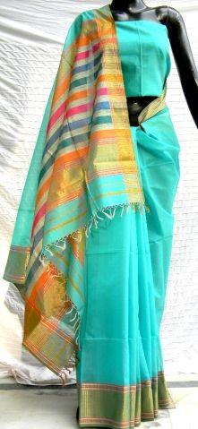 Beautiful, light-weight blue Maheshwari sari. Maheshwar in Central India is famous for its gossamer fab