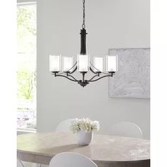Breakwater Bay Rosa 5 - Light Shaded Classic / Traditional Chandelier Finish: Heirloom Bronze, Bulb Included: No Clear Glass, Etched Glass, Chandelier Lighting, Chandeliers, Bath Fixtures, Light Shades, Mini Pendant, One Light, Minimalist Design