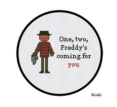Cross Stitch Pattern Freddy Kruger Instant Download by TinyNeedle, $4.00 lol...basement