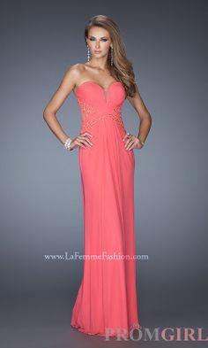 Strapless Prom Gowns, La Femme Long Strapless Dresses- PromGirl