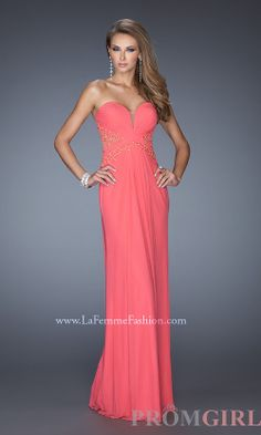 Strapless Prom Gowns, La Femme Long Strapless Dresses- PromGirl