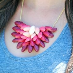 Pistachio shell necklace! Learn how to make a stylish ombre necklace upcycled from shells