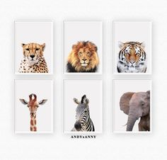 c2cb9fb6d Safari Nursery Prints Set of 6, Nursery Wall Art, Digital Wall Art, Jungle