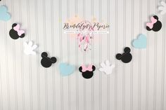 Mickey and Minnie Mouse Gender reveal 12 ft. Garland, Mickey Mouse baby shower garland, Minnie Mouse baby shower garland by BrandalynsPaperie on Etsy