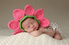 Flower Bonnet- Crochet 0-3 mo