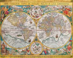 Antique Map, Orbis Terrarum, 1636 Posters by Jean Boisseau at AllPosters.com Wanna frame & hang behind couch in family room, on large wall