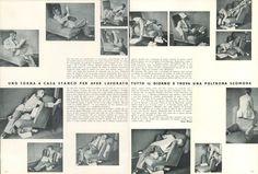 Uno torna a casa stanco per aver lavorato tutto il giorno e trova una poltrona scomoda di Bruno Munari. Dettaglio della pagina di Domus 202 / ottobre 1944
