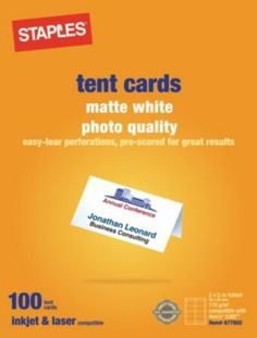 Staples®. has the Staples® Laser & Inkjet Matte White Tent Cards you need for home office or business. FREE Shipping on all orders over $45, plus Rewards Members get 5 percent back on everything!