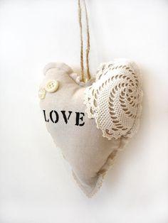 Organic rose sachet linen heart love stenciled, shabby chic home decor ornament gift for Mom