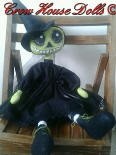 Wicked Witch of the West skeleton doll by Crow House Dolls