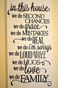 In This House We do Real Family Quote Wooden Wall Sign 12x24 #Handmade #Traditional
