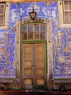 Old door and tiles