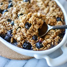 Pumpkin spice baked oatmeal is the way to go for breakfast this fall. Pack it full of fresh fruit!