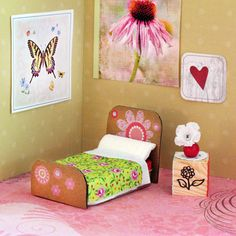 Your young fairy fan will have a blast furnishing this little bitty bedroom.