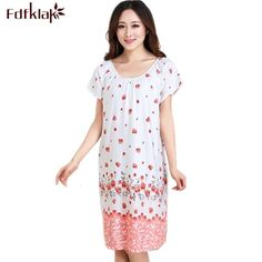 Hot Offer Womens nightgowns new cotton silk nightwear summer dress casual loose nightdress female night shirt women sleepwear sleepshirt .....More Detail Please Click Link