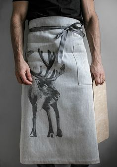 Bring the wilderness into your home with this PORO (reindeer in Finnish) high quality waist apron! Design collaboration between Lapuan Kankurit and artist Teemu Järvi. Scandinavian Design, Sustainable Textiles, Sustainable Gifts, Cool Aprons, Waist Apron, Natural Linen, Restaurant Bar, Reindeer, Home Decor Accessories