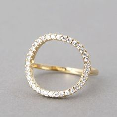 Swarovski Gold Circle Ring