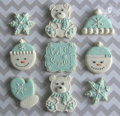 Let It Snow! Blue and White Decorated Christmas Cookies