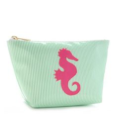 Medium Avery Case in Green Stripes wtih Pink Seahorse by Lolo