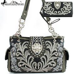 Click Here and Buy it on Amazon.com Price:$59.99  Montana West Western Unique Floral Embroidered Rhinestone Gemstone Round Rivet Studded Turn Over Top Detailed Side Pocket Tote Satchel Shoulder Handbag Purse with Wallet