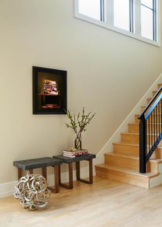 Modern Staircase With Black Metal Railing