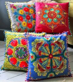 colorful embroidered pillows-my favorite