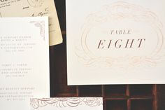 Chateau Wedding Invitation Suite | August & Osceola | www.augustandosceola.com | Delicate line work and intricate borders bring Chateau to life with old-world Parisian character. Enhance your look with hot foil stamping / letterpress.