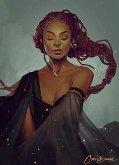 """Sketch XXII"" - Charlie Bowater {figurative art freckle-face female #dreadlocks black woman head art digital illustration}"