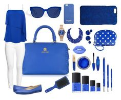 """""""Blue"""" by crazycaty11 ❤ liked on Polyvore featuring Roberto Cavalli, H&M, TIBI, Nine West, Bling Jewelry, Lime Crime, Maybelline, NARS Cosmetics, Urban Decay and Disney"""