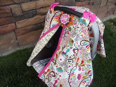 Carseat Canopy RTS Peacock Princess by fashionfairytales on Etsy, $37.99