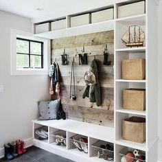Mudroom with Barn Board Backsplash