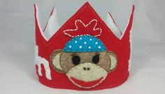 Sock Monkey Themed Personalized Felt Birthday Crown by HedsThreads