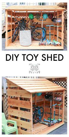 Outdoor Bike Storage, Backyard Storage, Shed Storage, Bicycle Storage, Storage Ideas, Storage Benches, Small Storage, Pallet Storage, Backyard Sheds