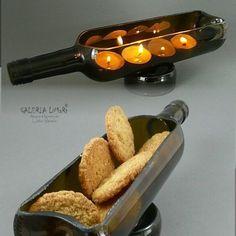 PREZENT. Eko-świecznik lub patera z butelki 2w1 - odlotowy /  GIFT. Eco-candlestick or platter made of hand-cut bottle 2in1. Super, one of a kind :)