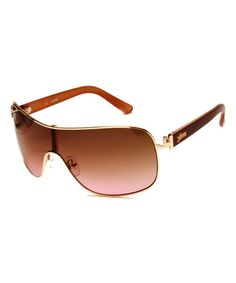 Another great find on #zulily! Gold & Mauve Shield Sunglasses by GUESS #zulilyfinds