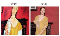 Amedeo Modigliani's modern aesthetic was characterized by his subject's mask-like faces, which drew inspiration from African art, and his elongated figures. In 1919, Modigliani painted the polish woman Lunia Czechowska, in Woman with a Fan. Two years before the painting was stolen from the Musée d'Art Moderne de la Ville de Paris, Peter Lindbergh photographed Julianne Moore wearing a marigold Calvin Klein sweater-dress in homage to Modigliani for Harper's Bazaar's June, 2008 issue.